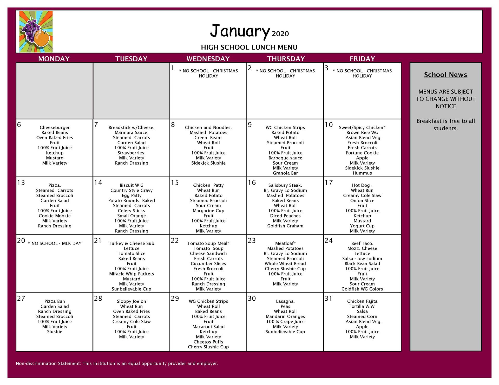 January Lunch Grades 9-12