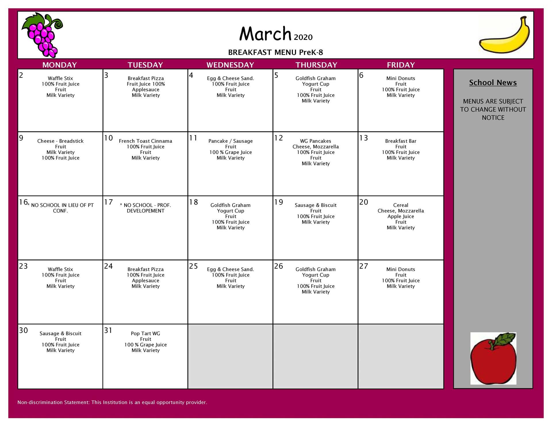 March Breakfast Grades PK-8