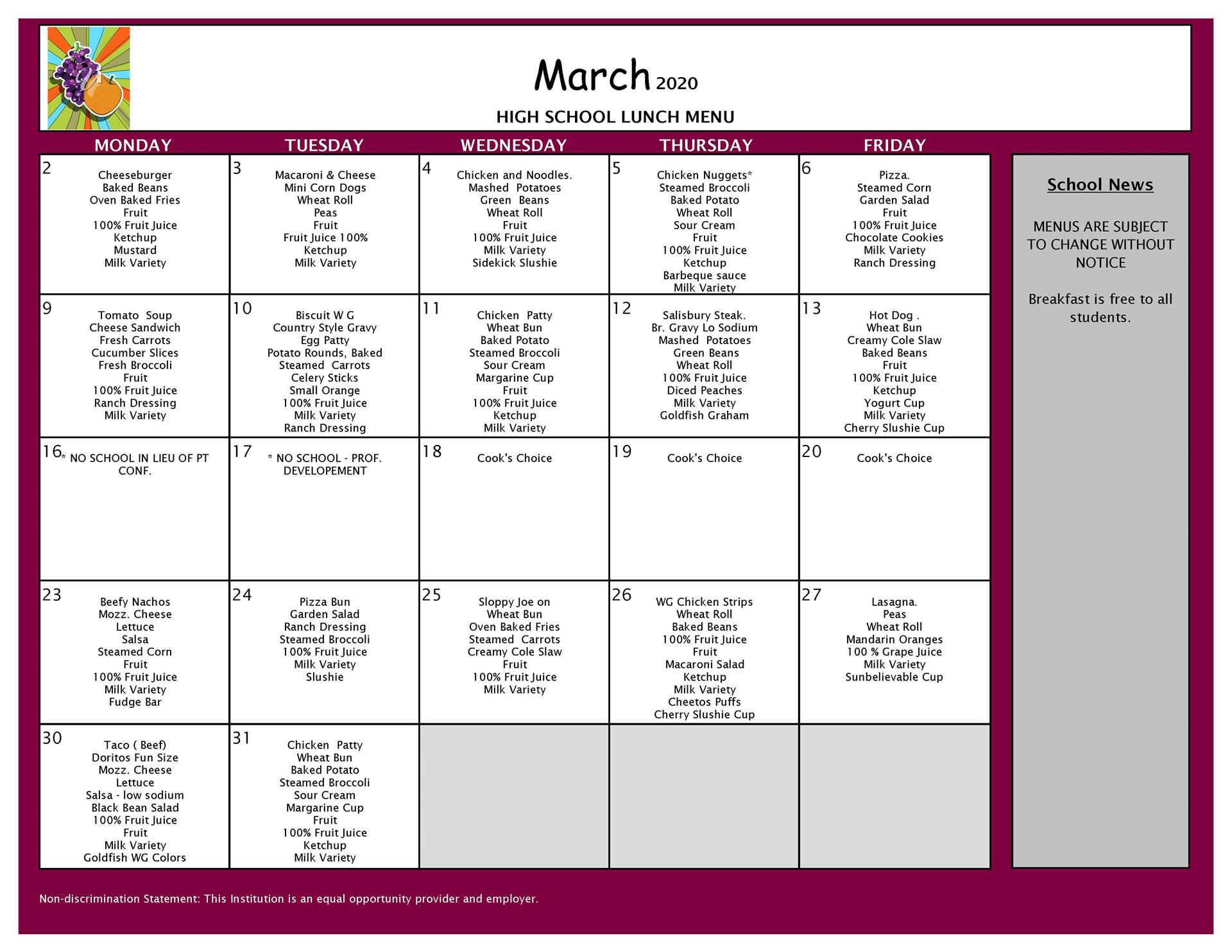 March Lunch Grades 9-12