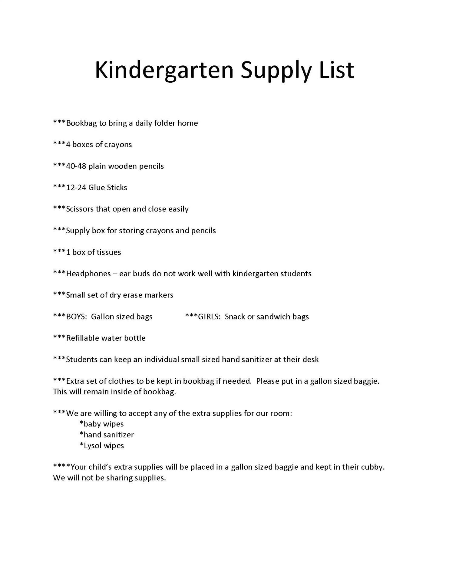 South Kindergarten Supply List