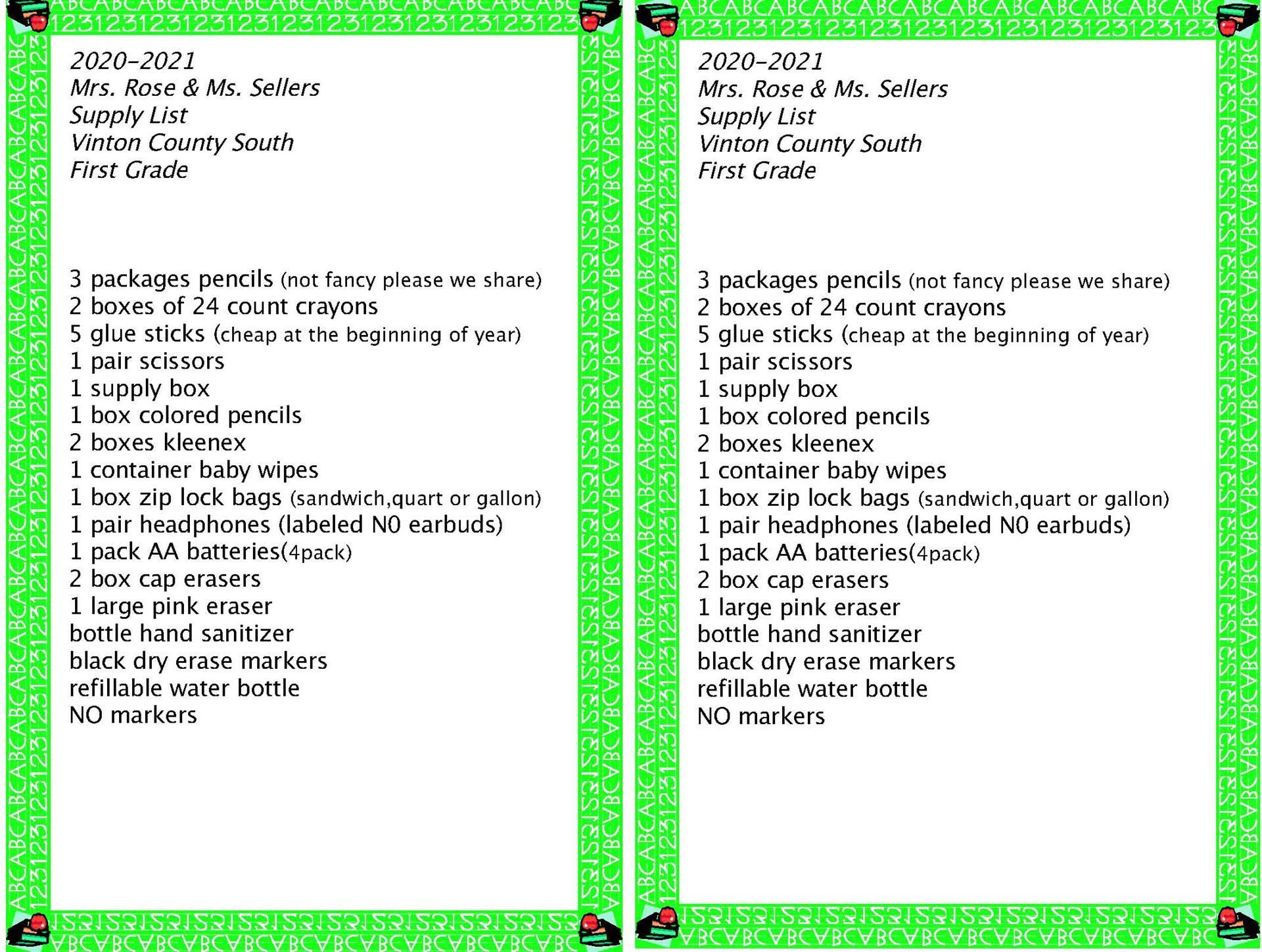 South First Grade Supply List
