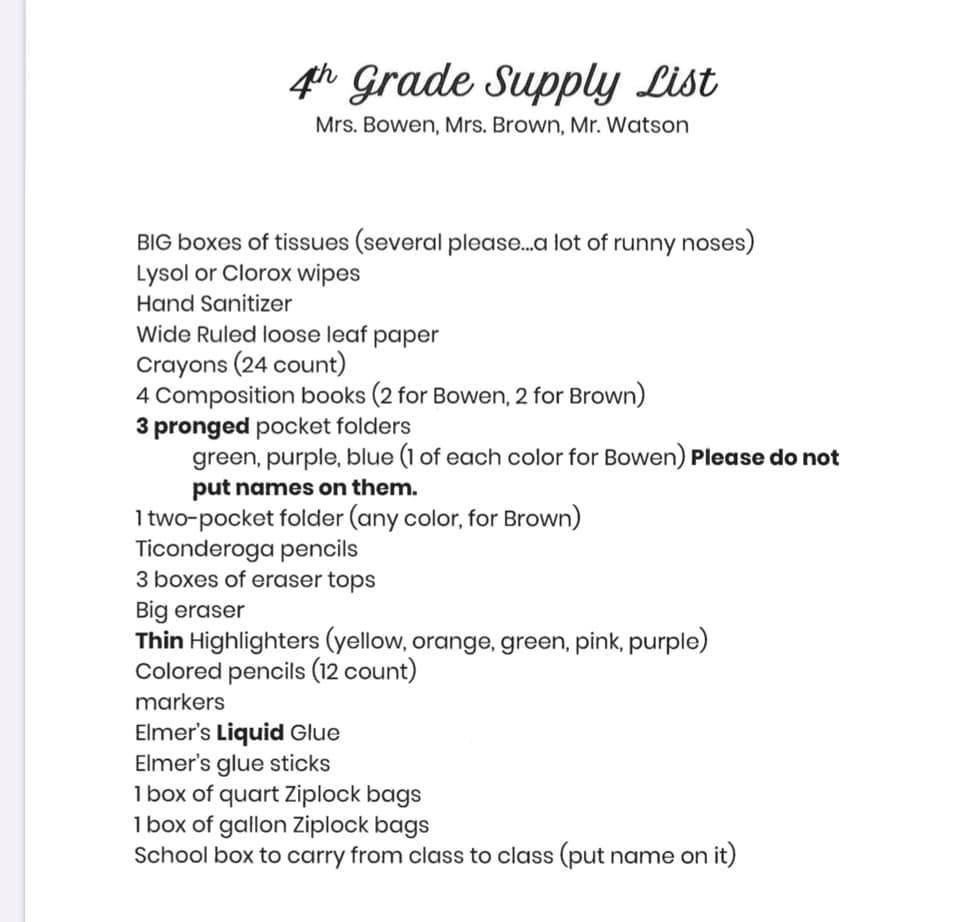 Central 4th Grade Suggested Supply List