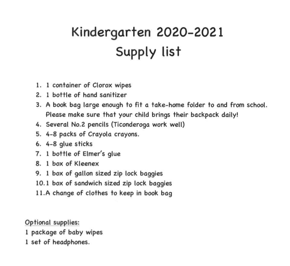 Central Kindergarten Suggested Supply List