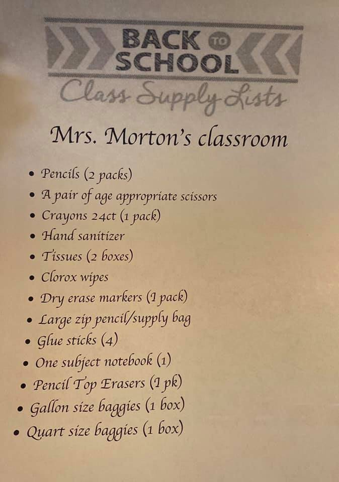 Central Mrs. Morton Suggested Supply List