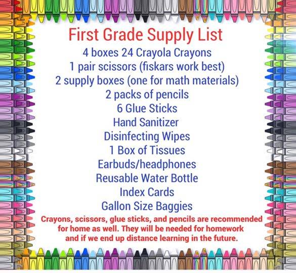 West 1st Grade Suggested Supply List