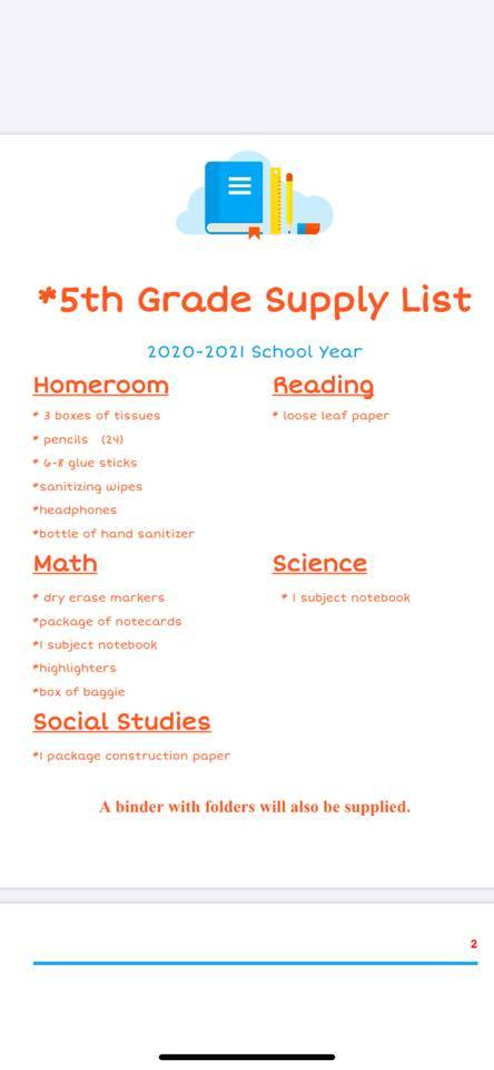 West 5th Grade Suggested Supply List