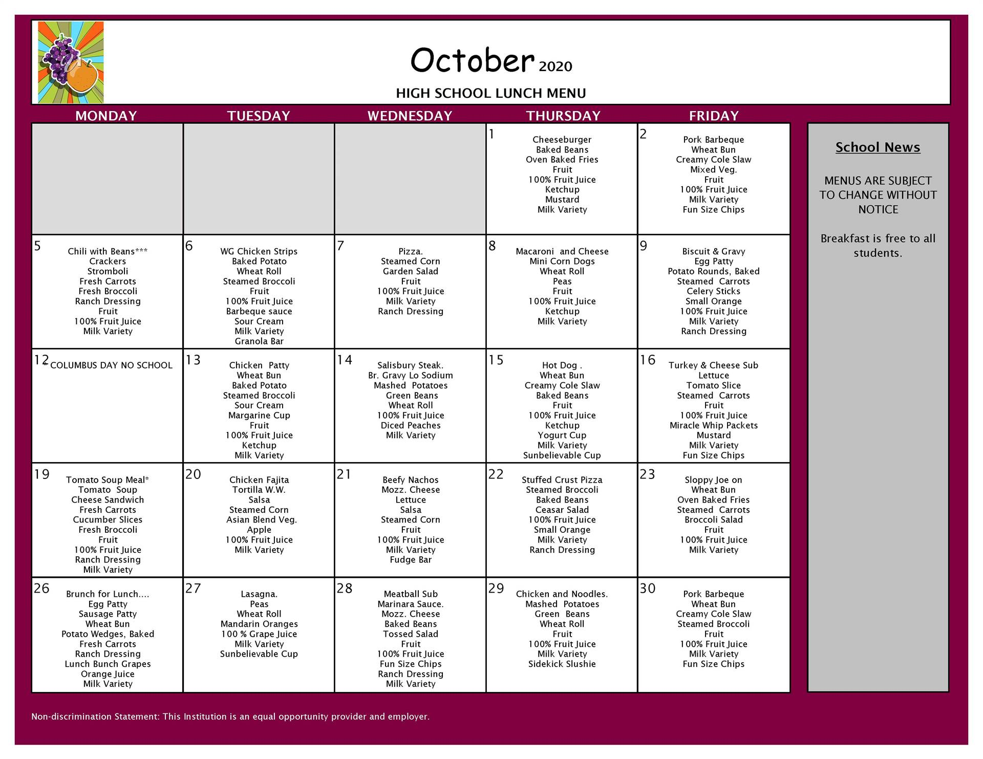 October Lunch Menu 9-12