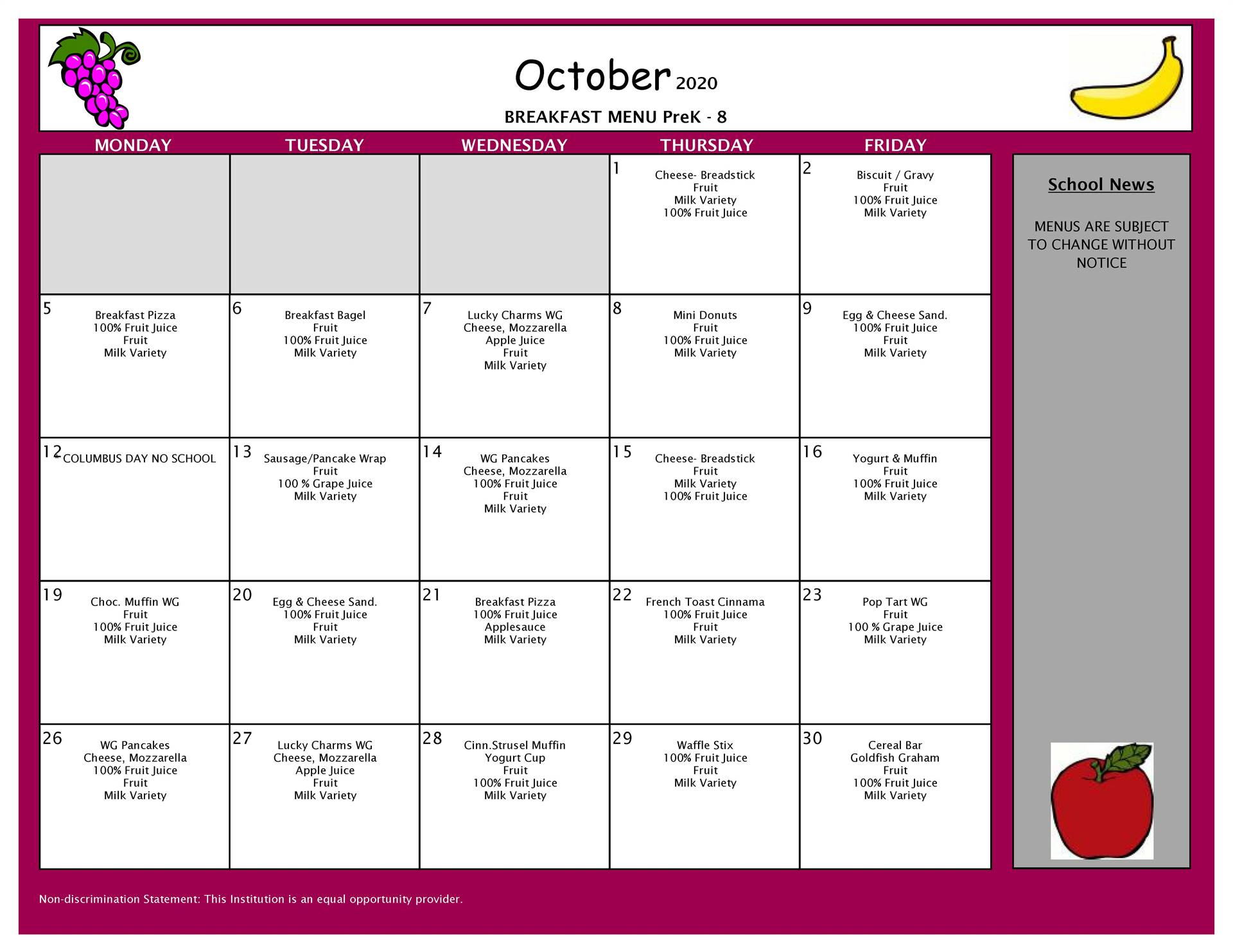 October Breakfast Menu PK-8