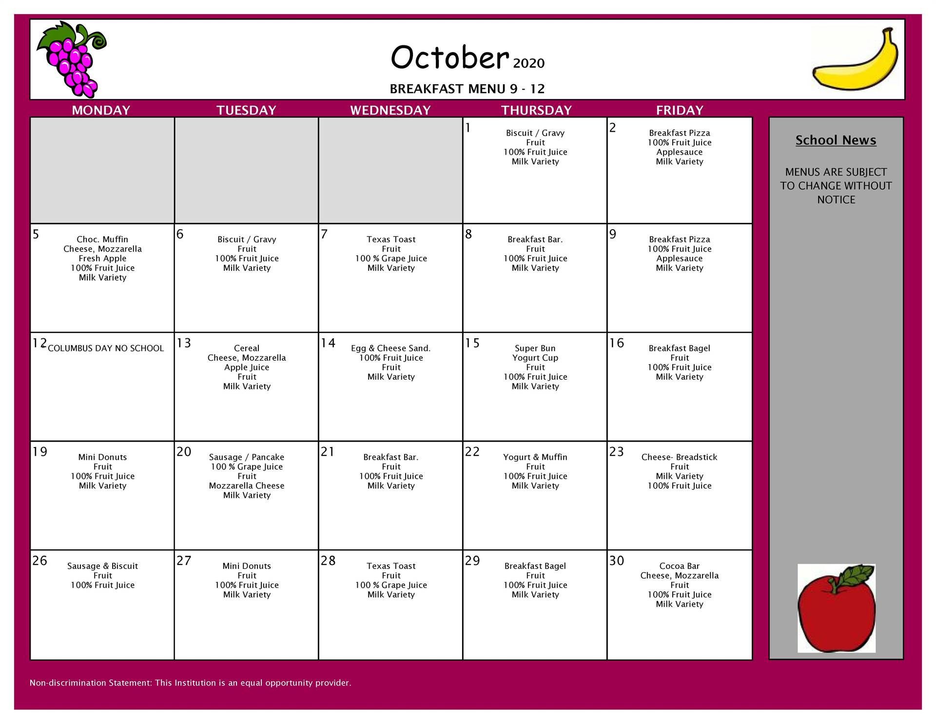 October Breakfast Menu 9-12