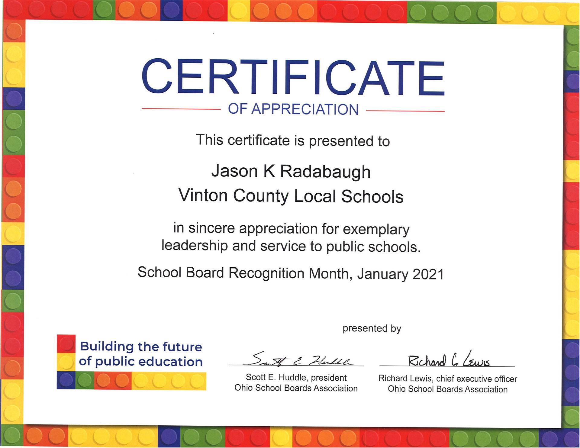 Certificate of Appreciation for Jason Radabaugh