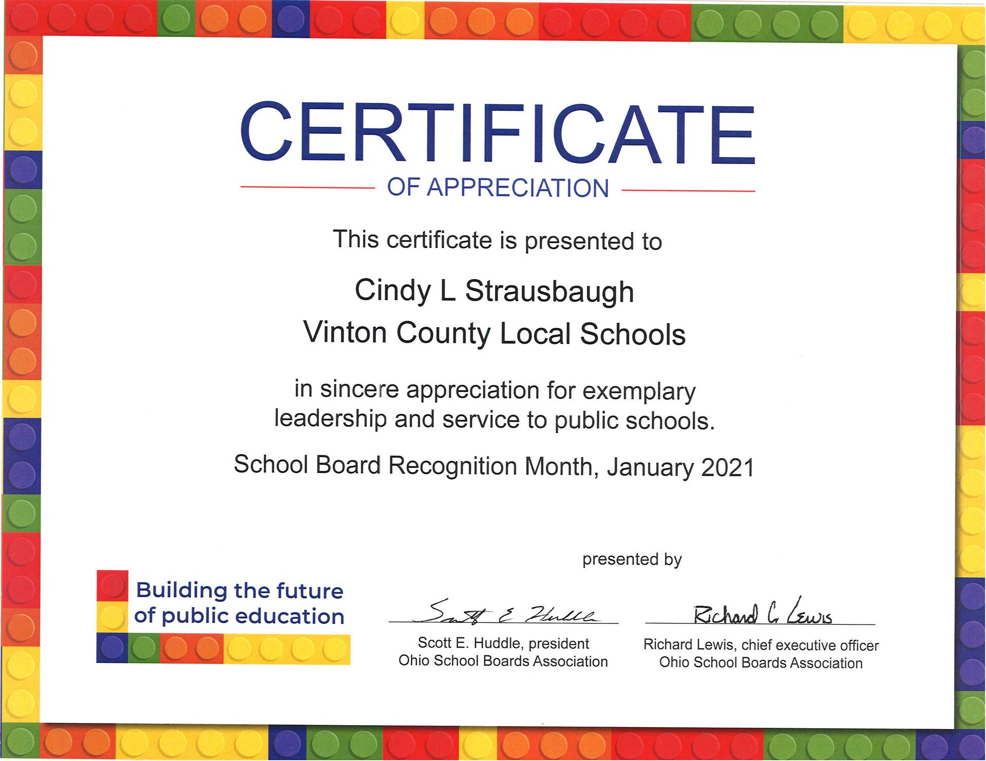 Certificate of Appreciation for Cindy Strausbaugh