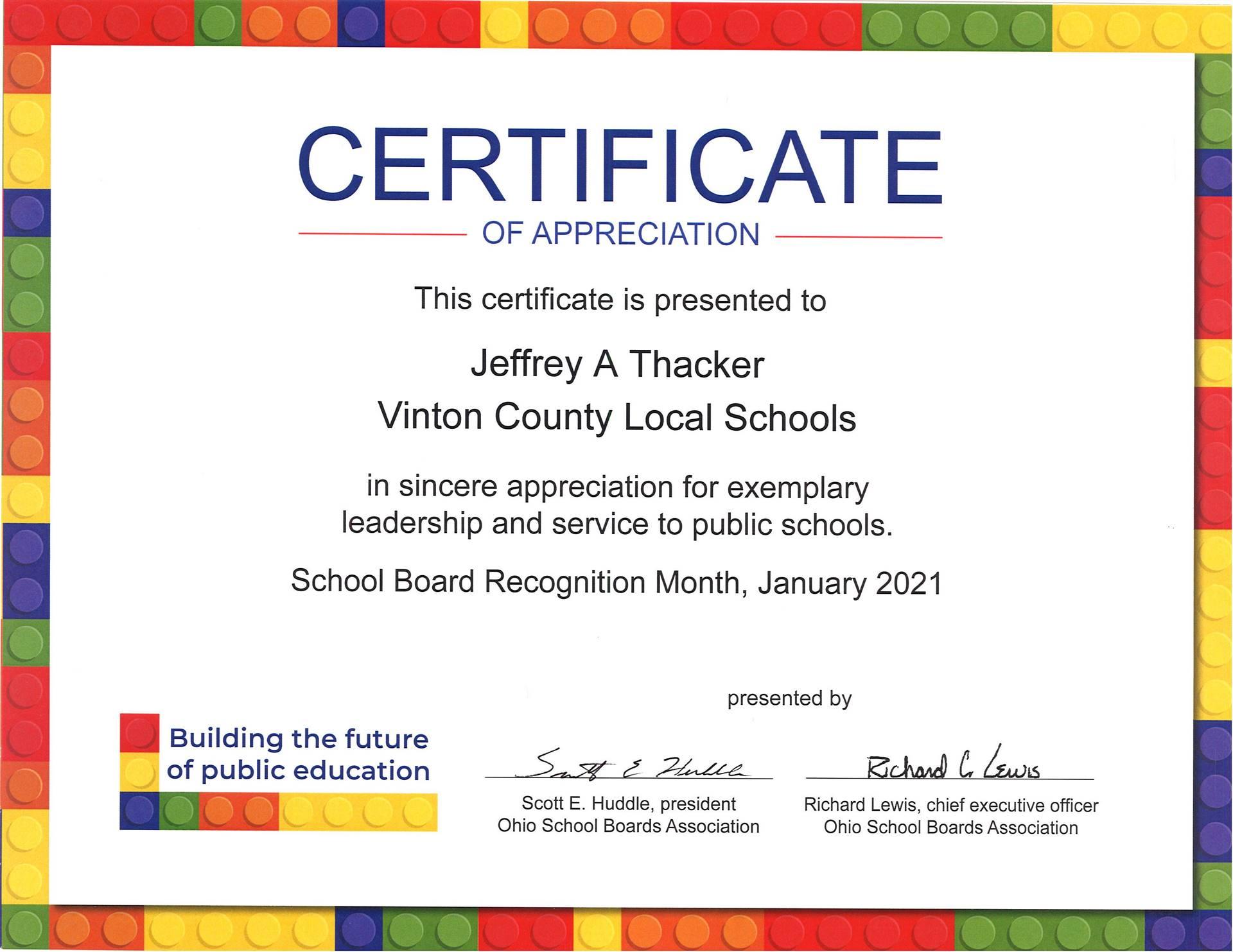 Certificate of Appreciation for Jeffrey Thacker