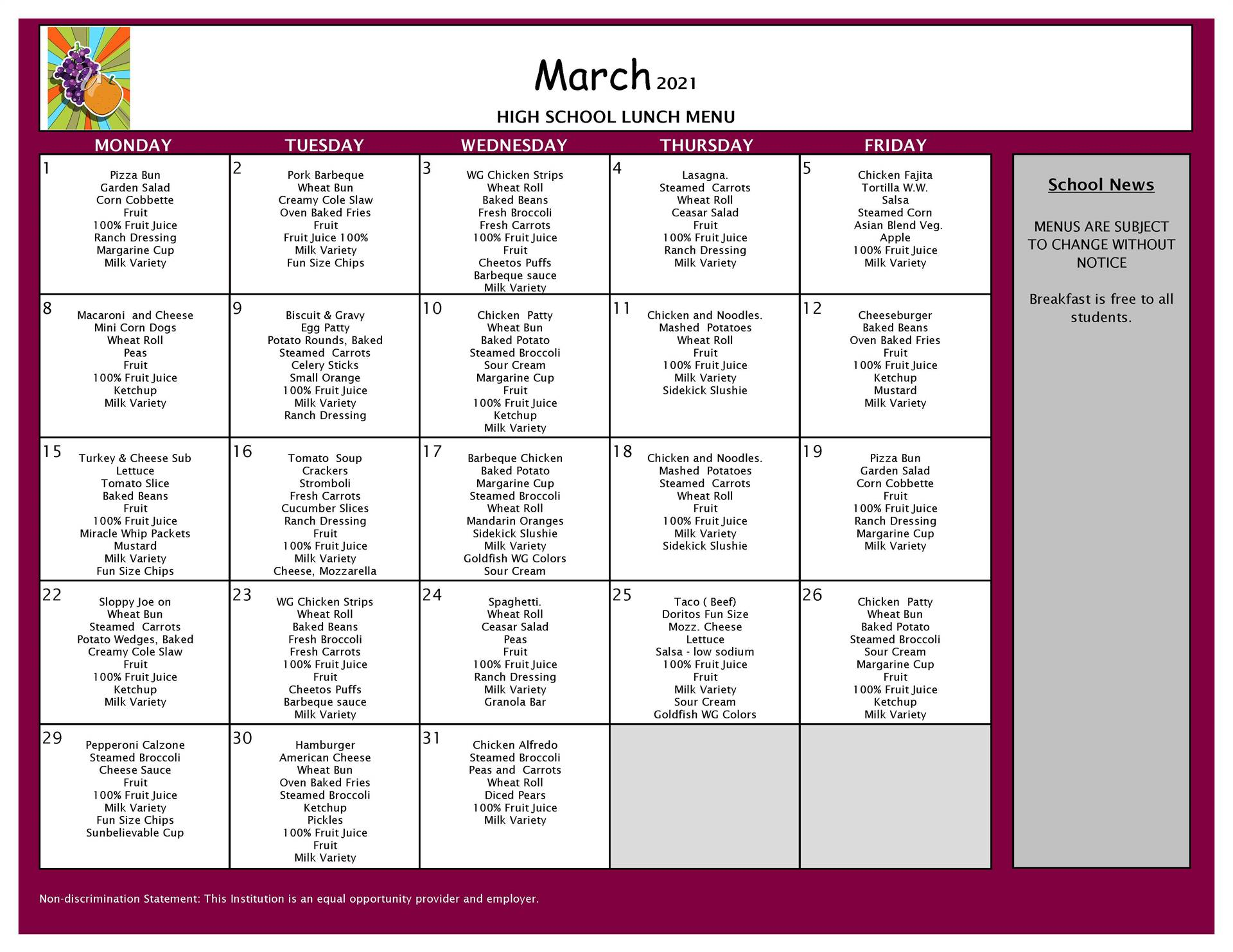 March Lunch  Menu 9-12