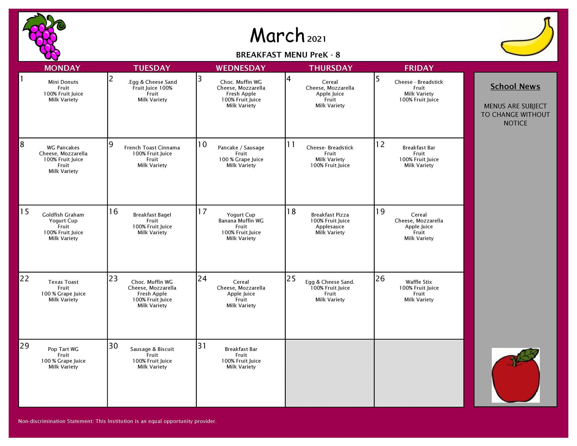 March Breakfast  Menu PreK-8