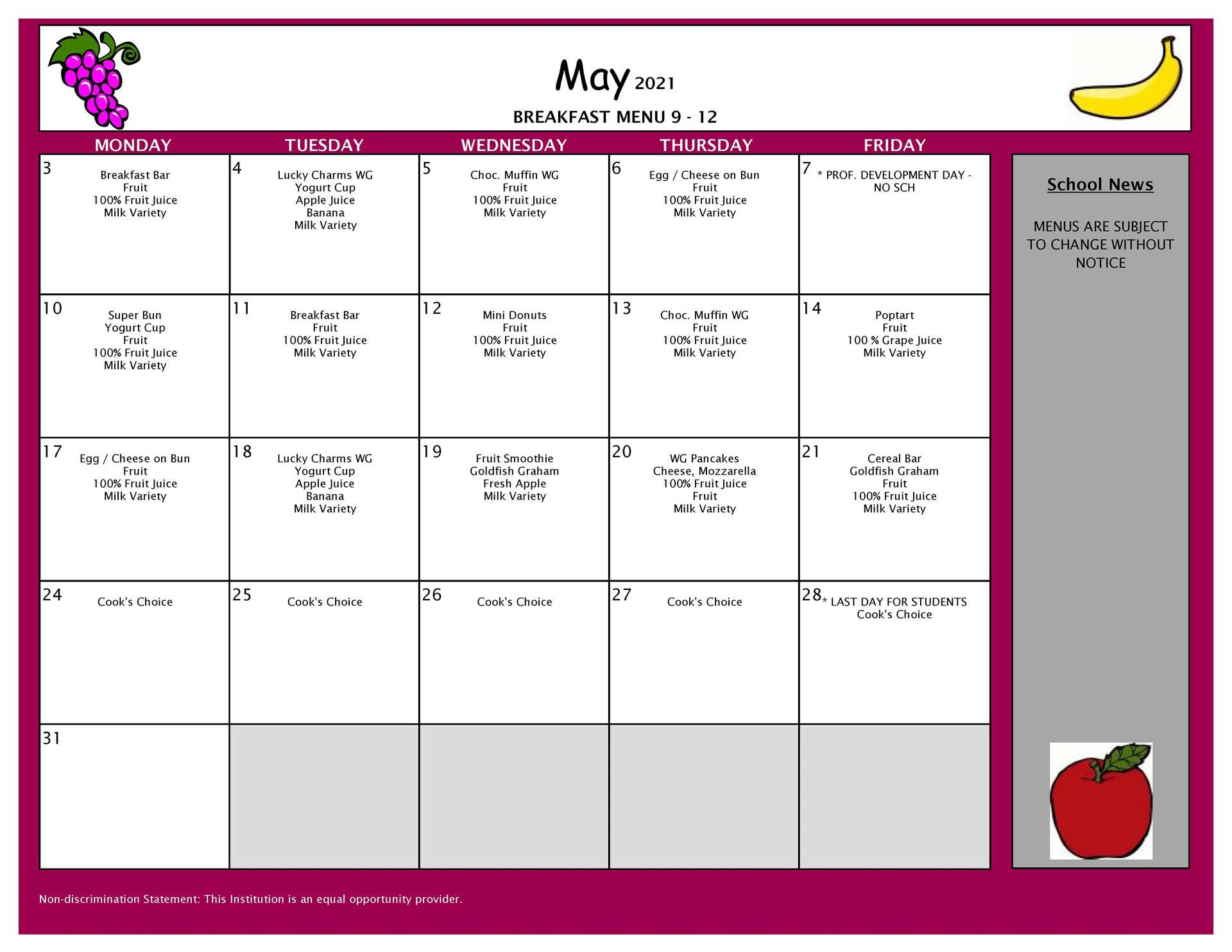 May Breakfast Menu 9-12