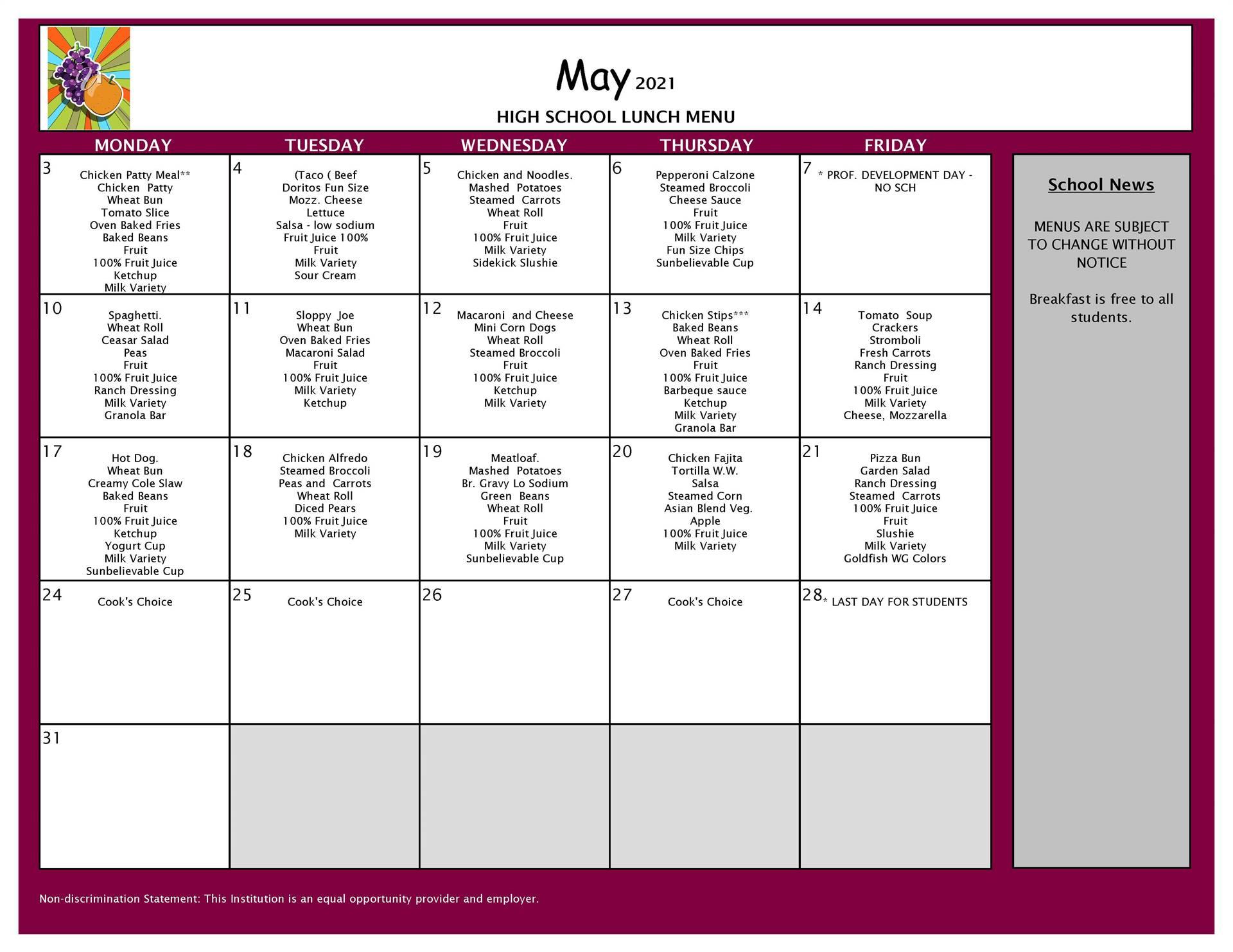 May Lunch Menu 9-12