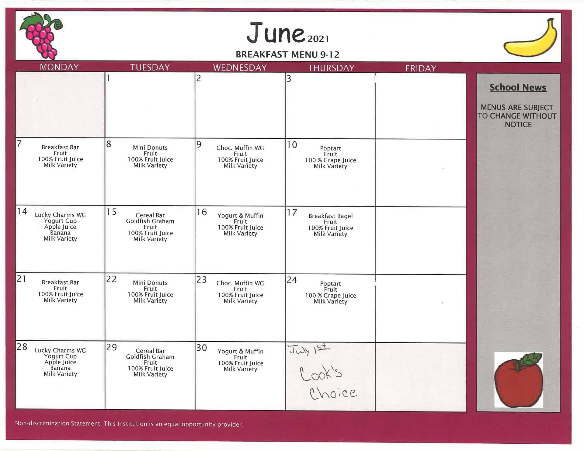 June High School Breakfast - Summer School/Summer Feeding Program