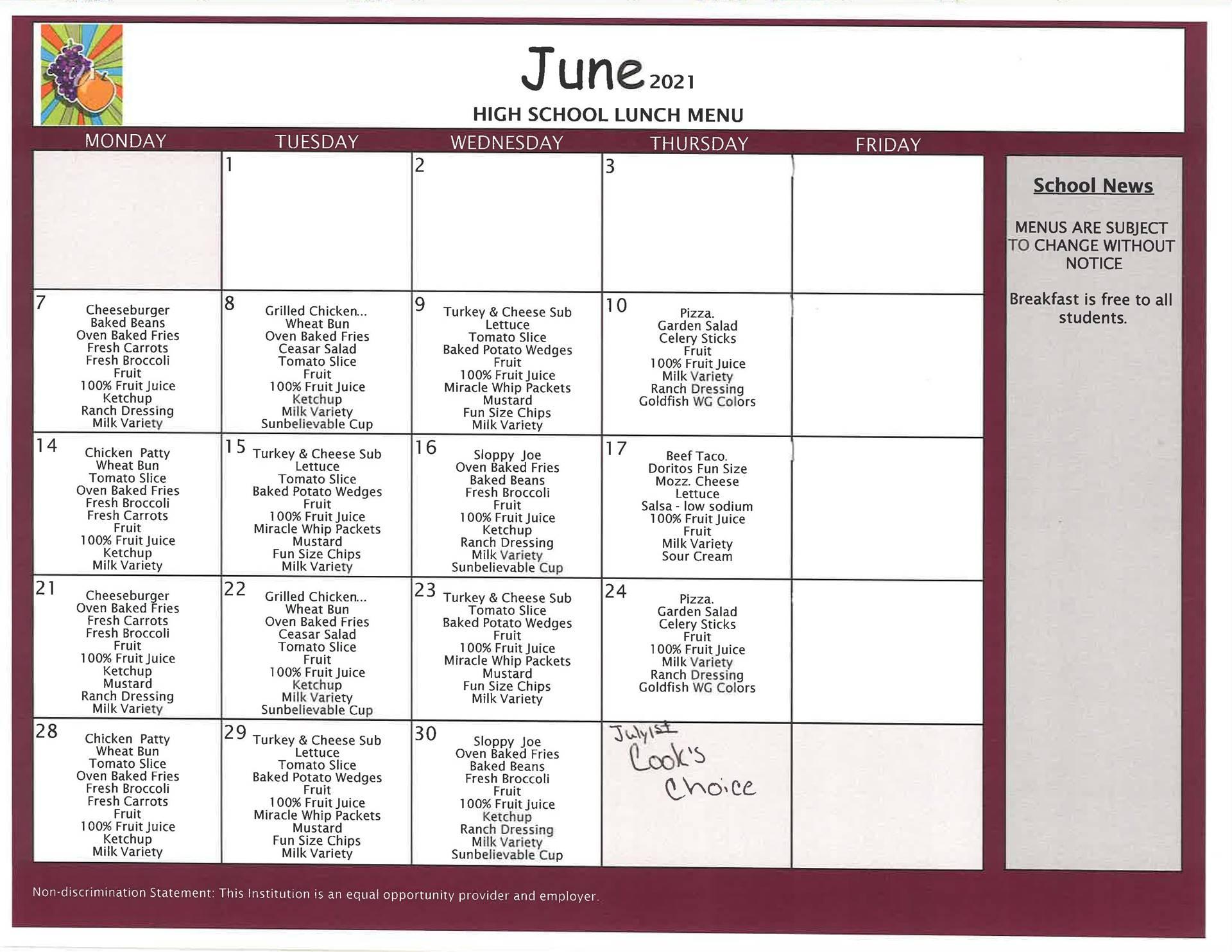 June High School Lunch - Summer School/Summer Feeding Program