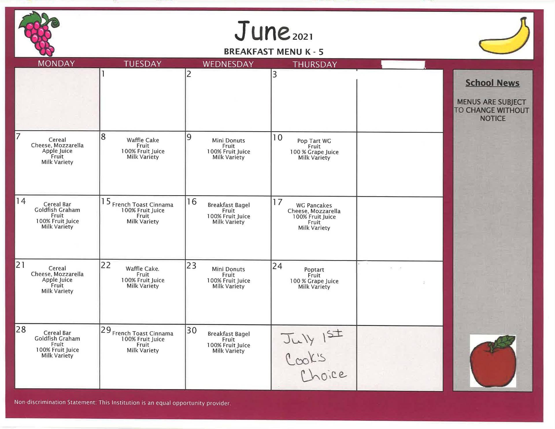 June Elementary Breakfast - Summer School/Summer Feeding Program