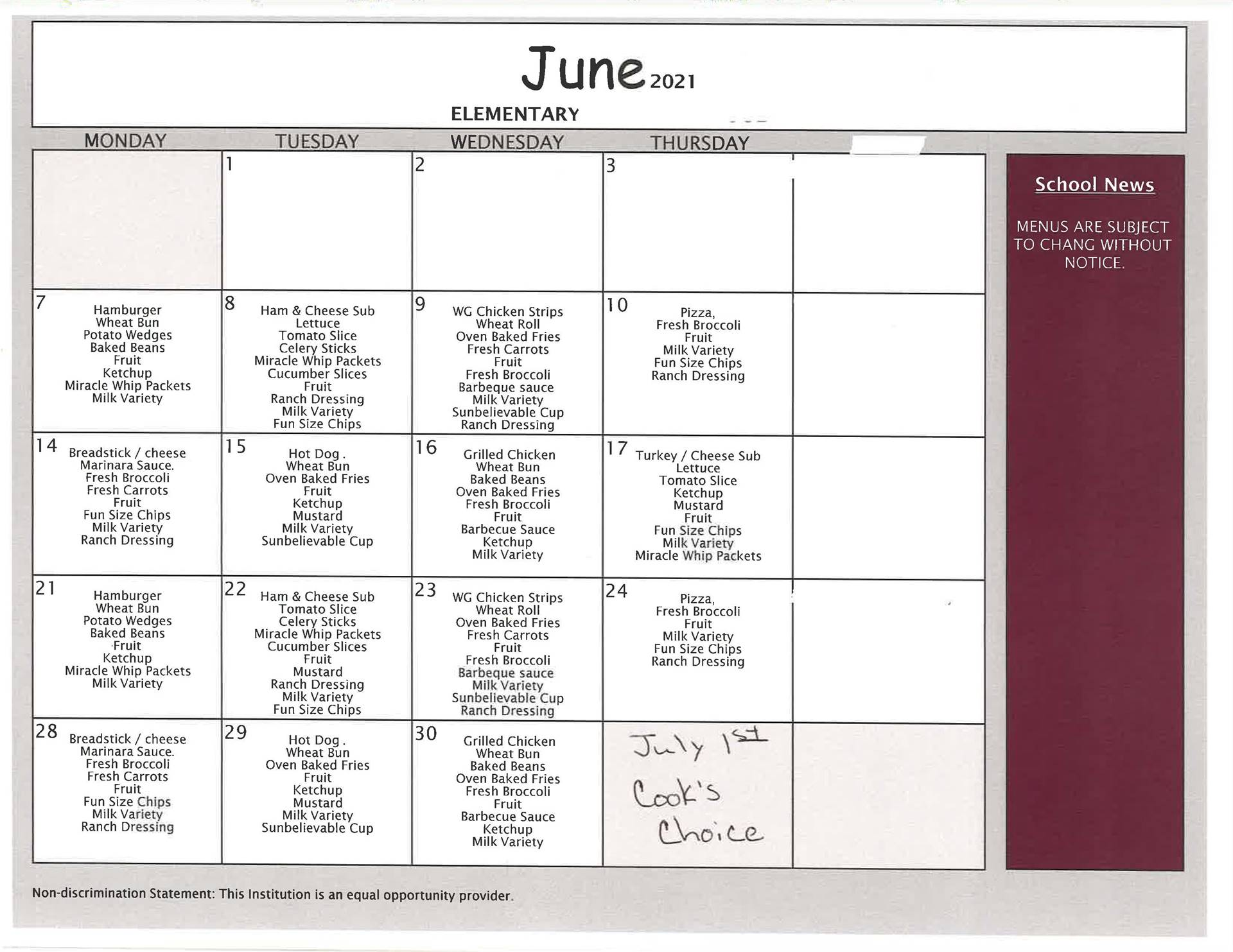 June Elementary Lunch - Summer School/Summer Feeding Program