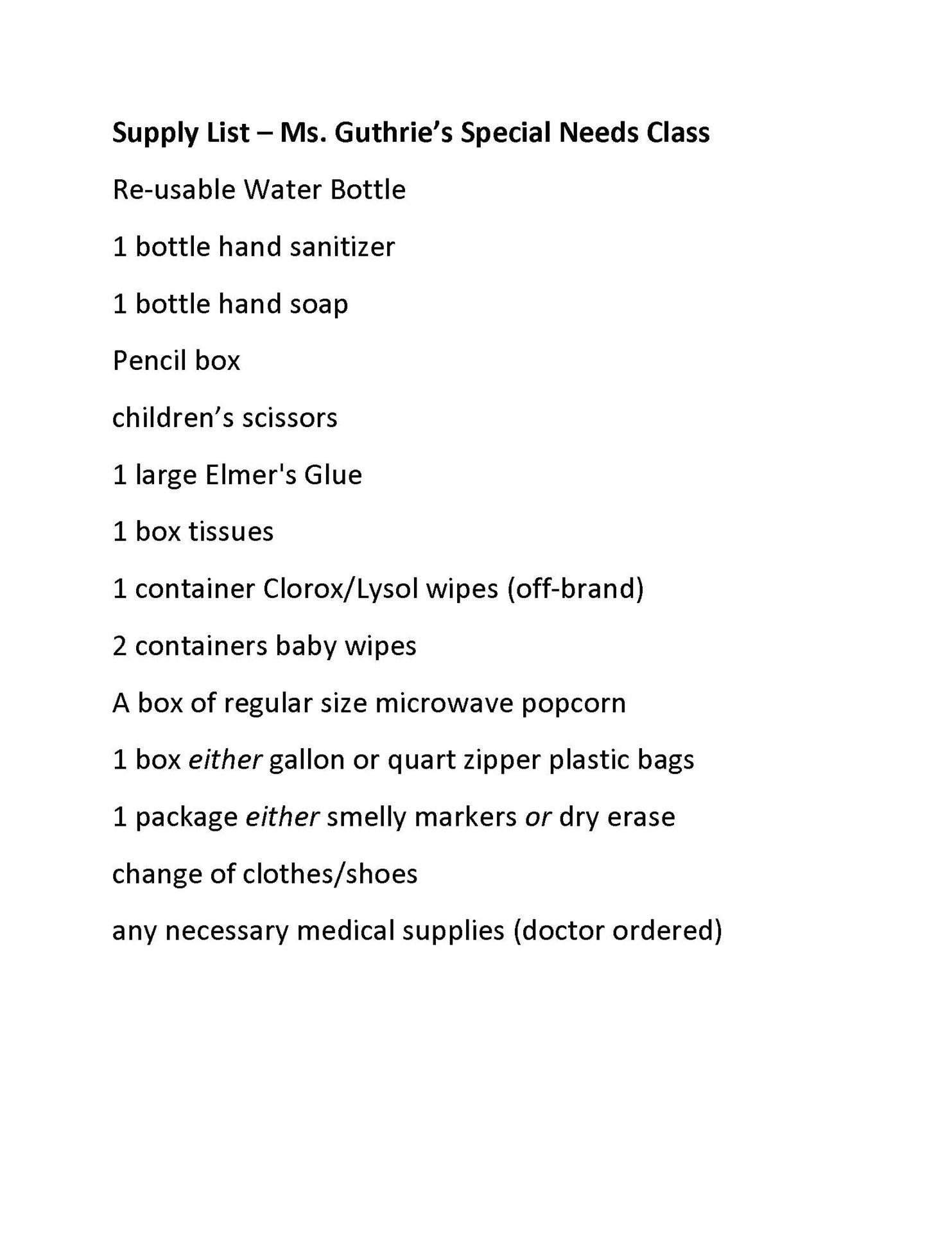 Ms. Guthrie Supply List