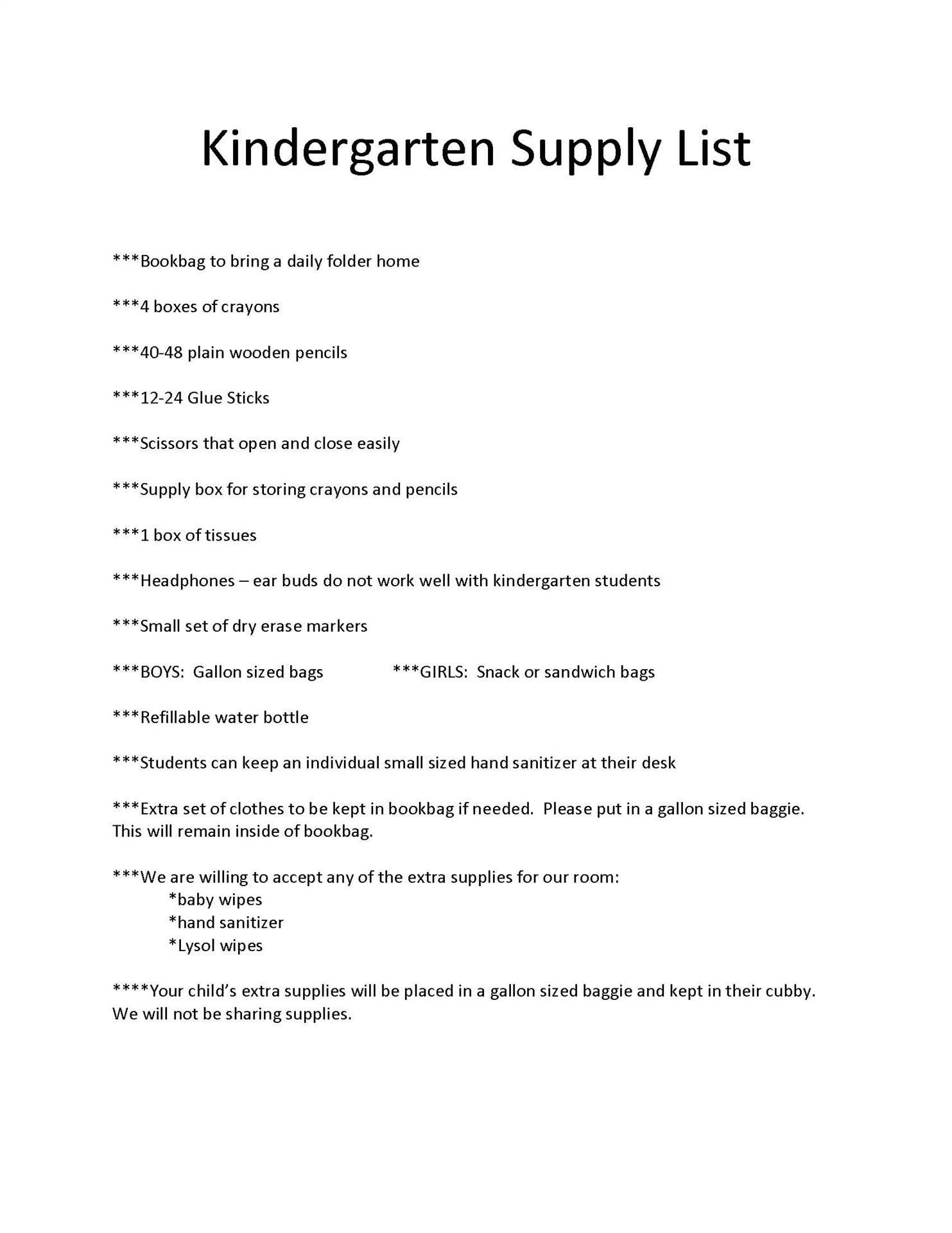South Kindergarten Supply List