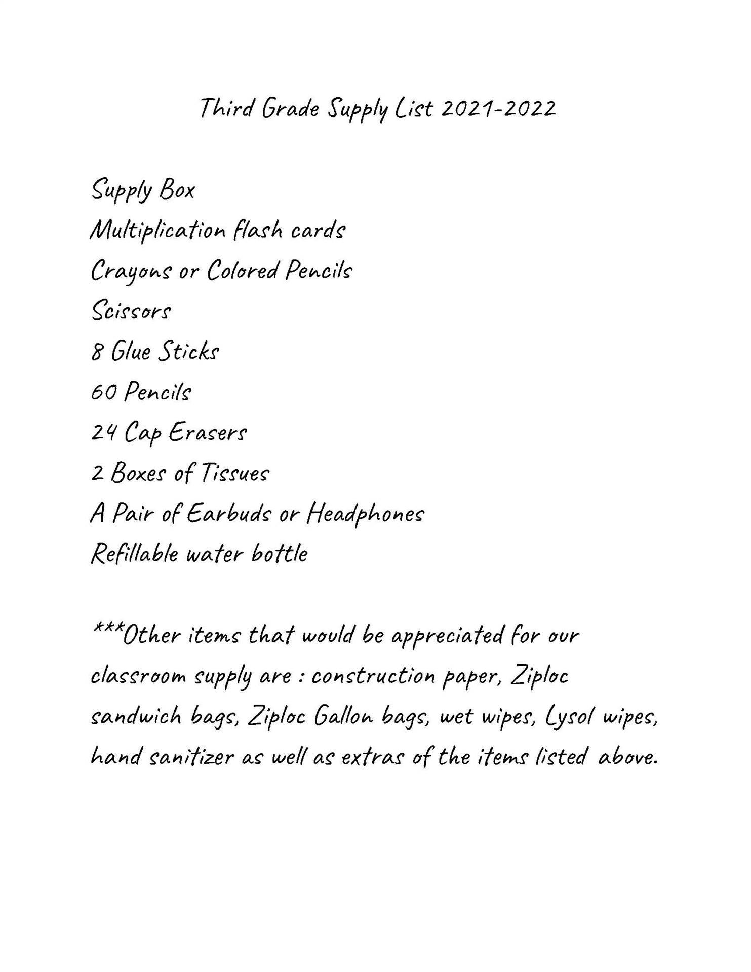 South 3rd Grade Supply List