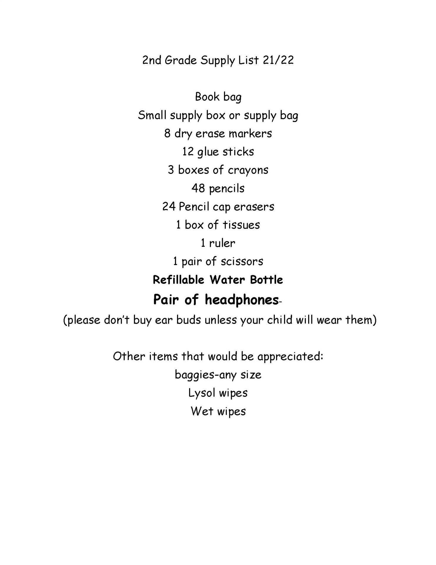 South - 2nd Grade Supply List