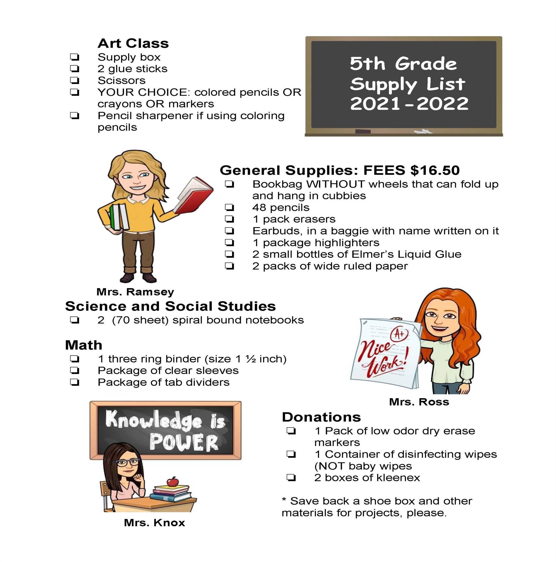 South - 5th Grade Supply List