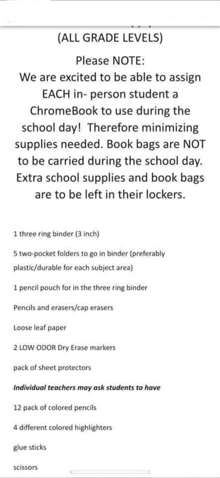 VCMS 2021 Suggested Supply List