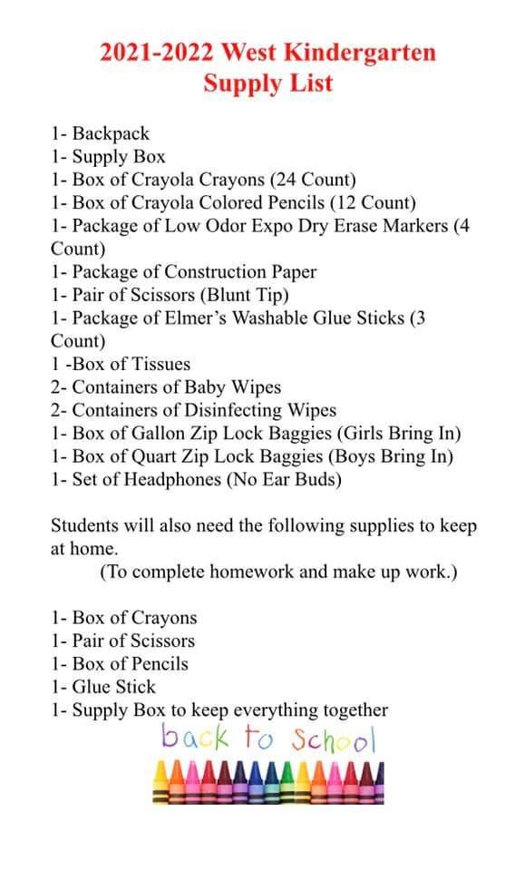West KG Suggested Supply List