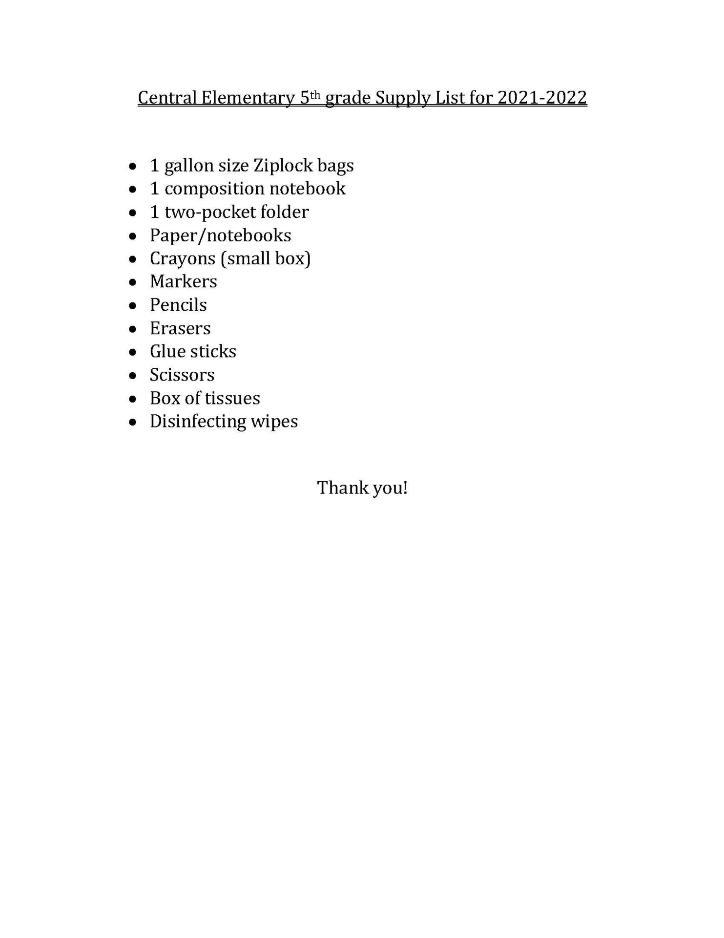 Central 5th Grade Suggested School Supply List