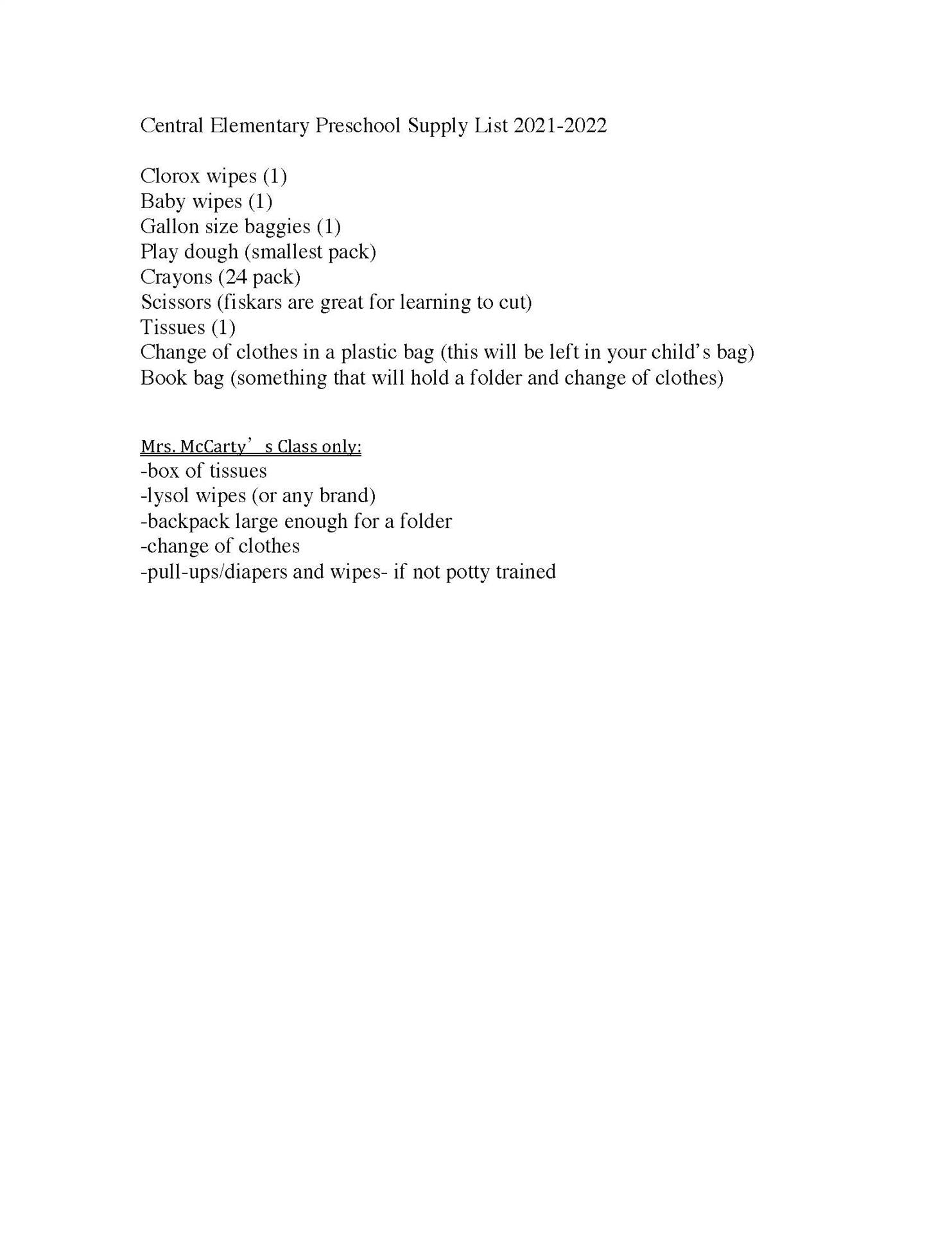 Central Preschool Suggested School Supply List