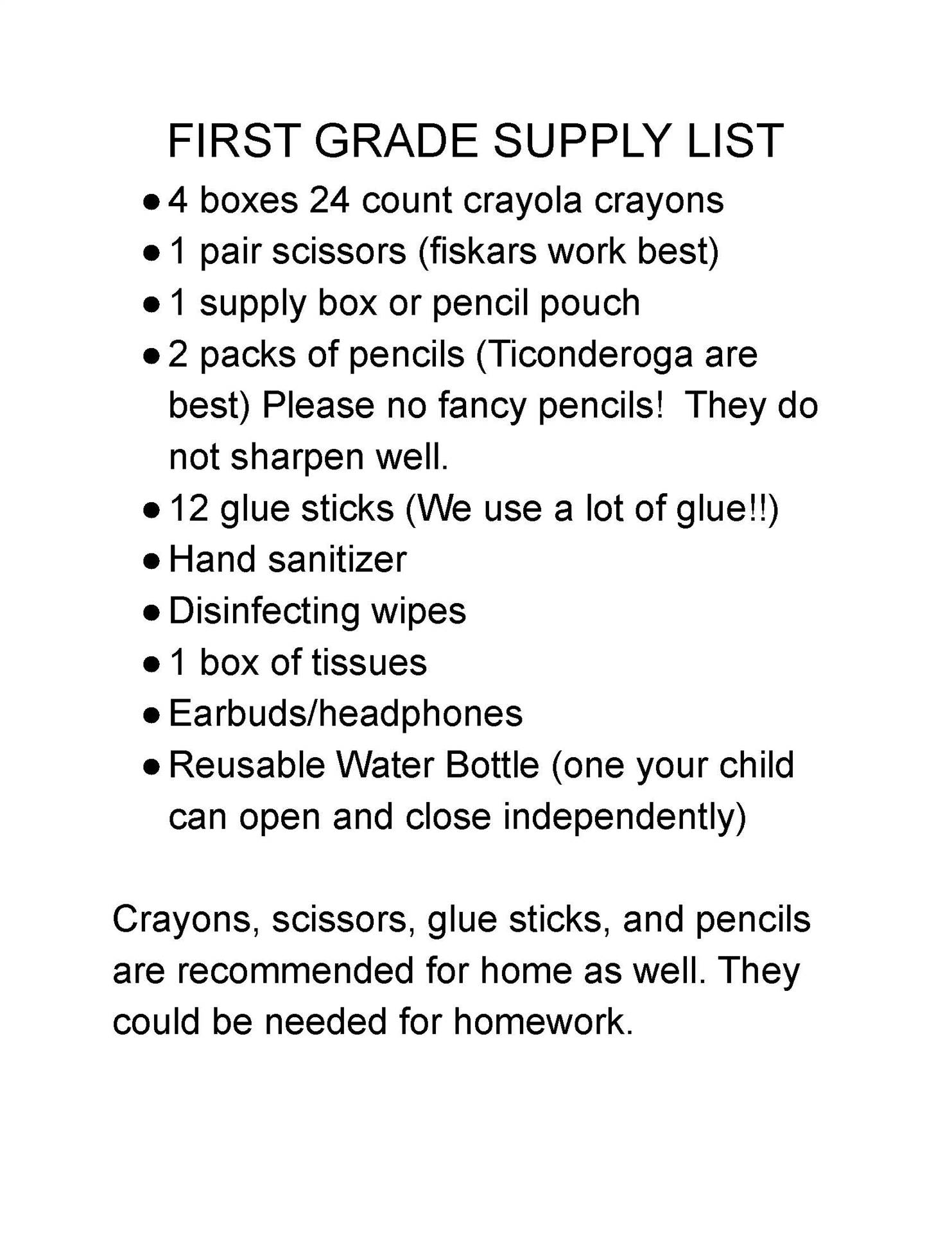 Central 1st Grade Suggested School Supply List
