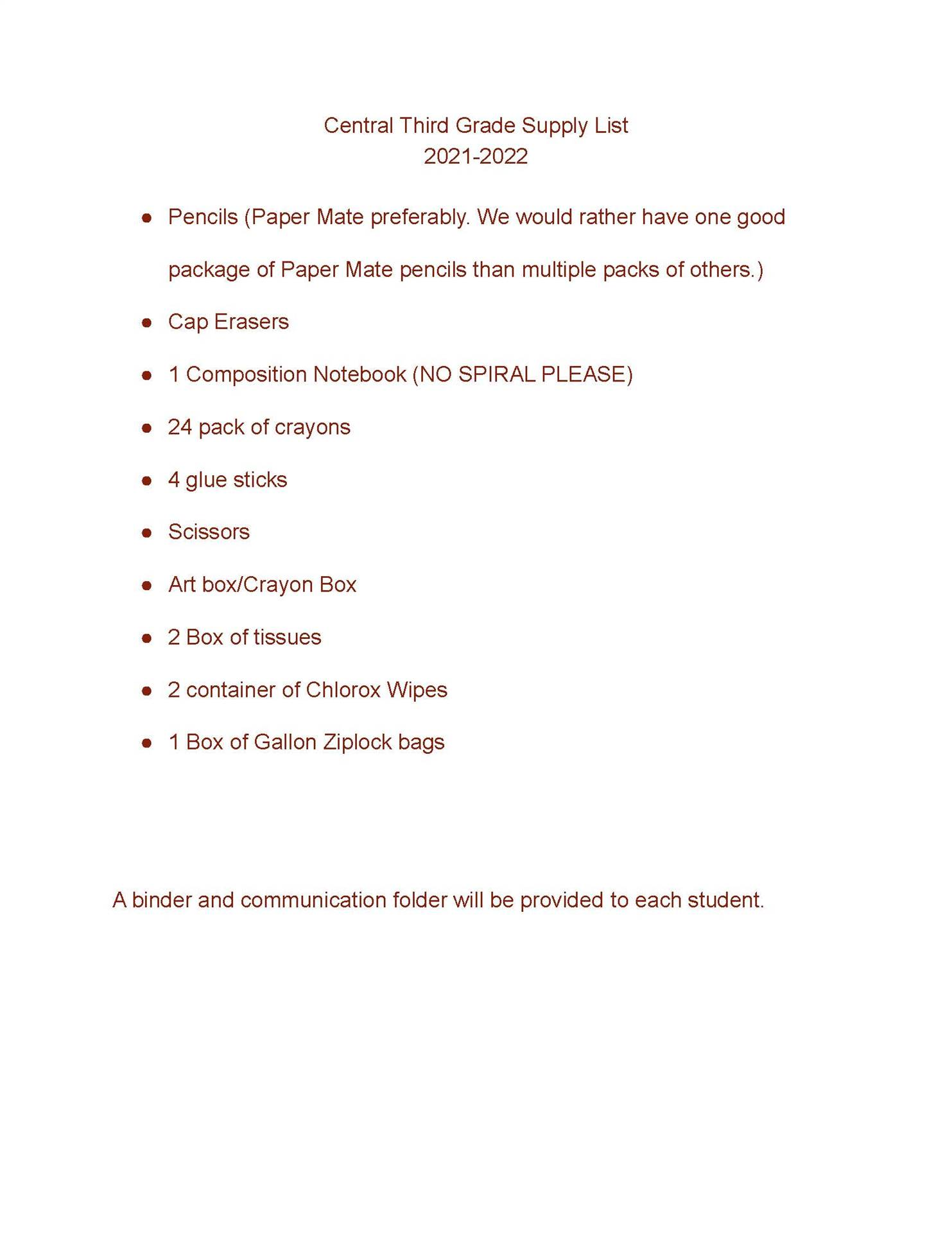 Central 3rd Grade Suggested School Supply List