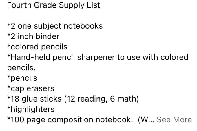 West 4th Grade Suggested Supply List