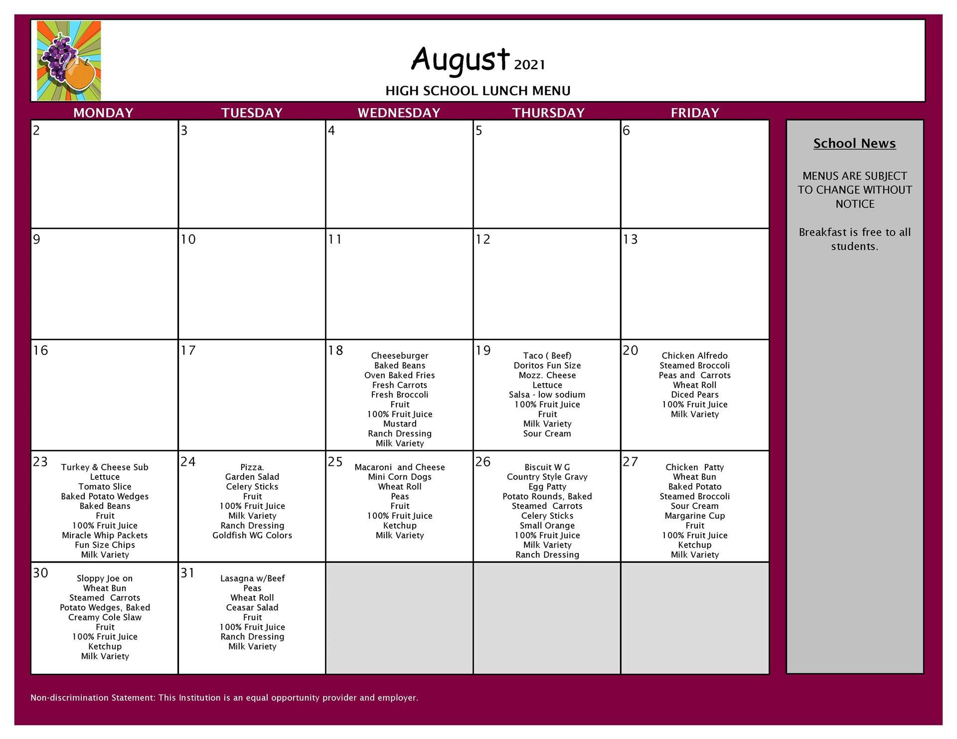 August Lunch  Menu 9-12