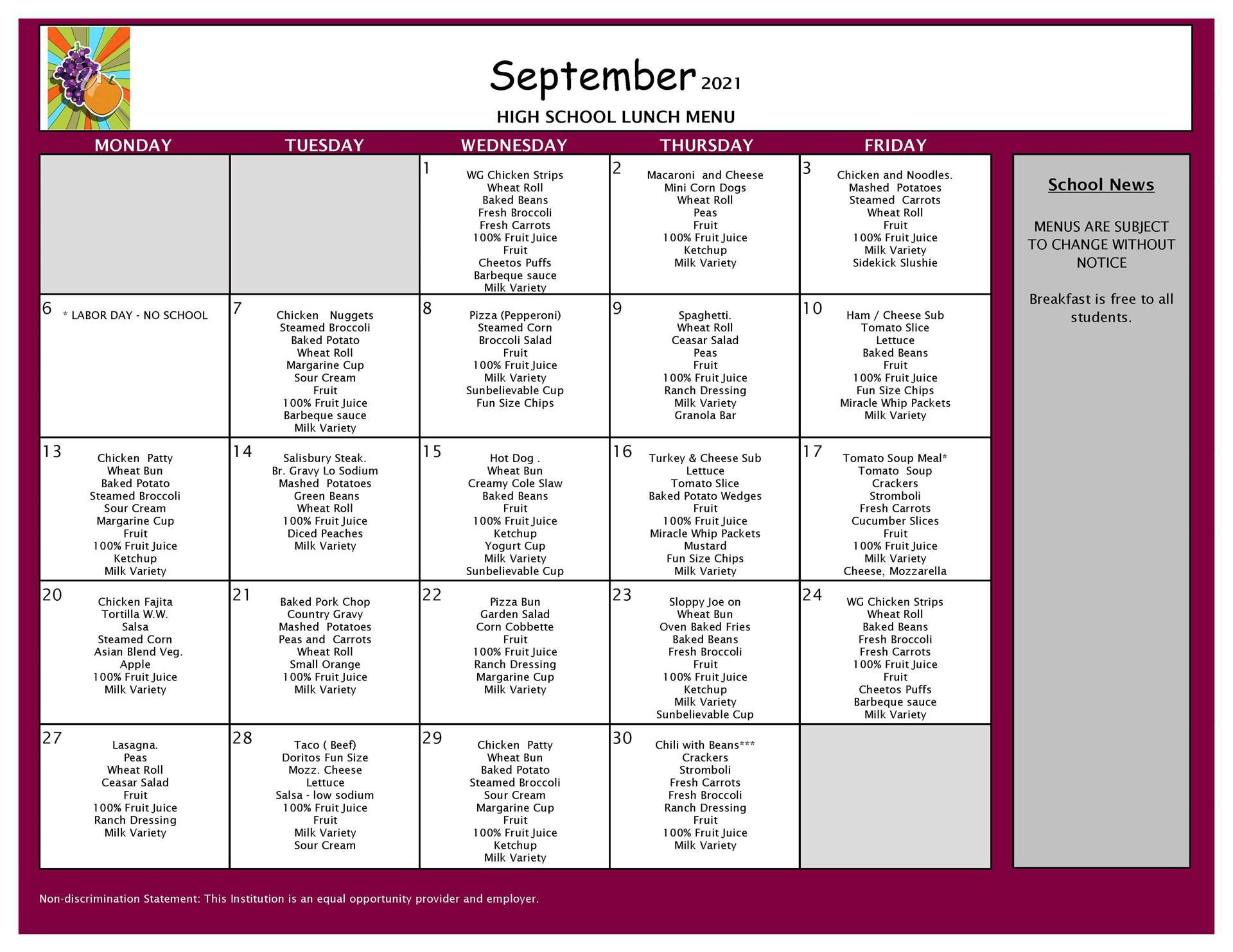 September Lunch Menu 9-12