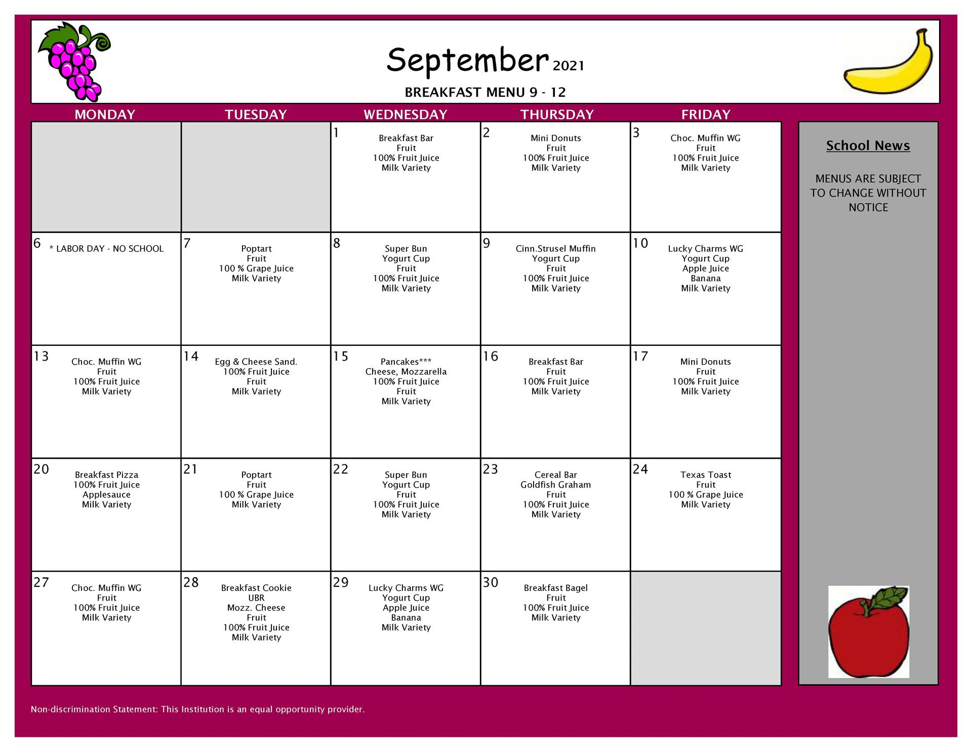 September Breakfast Menu 9-12
