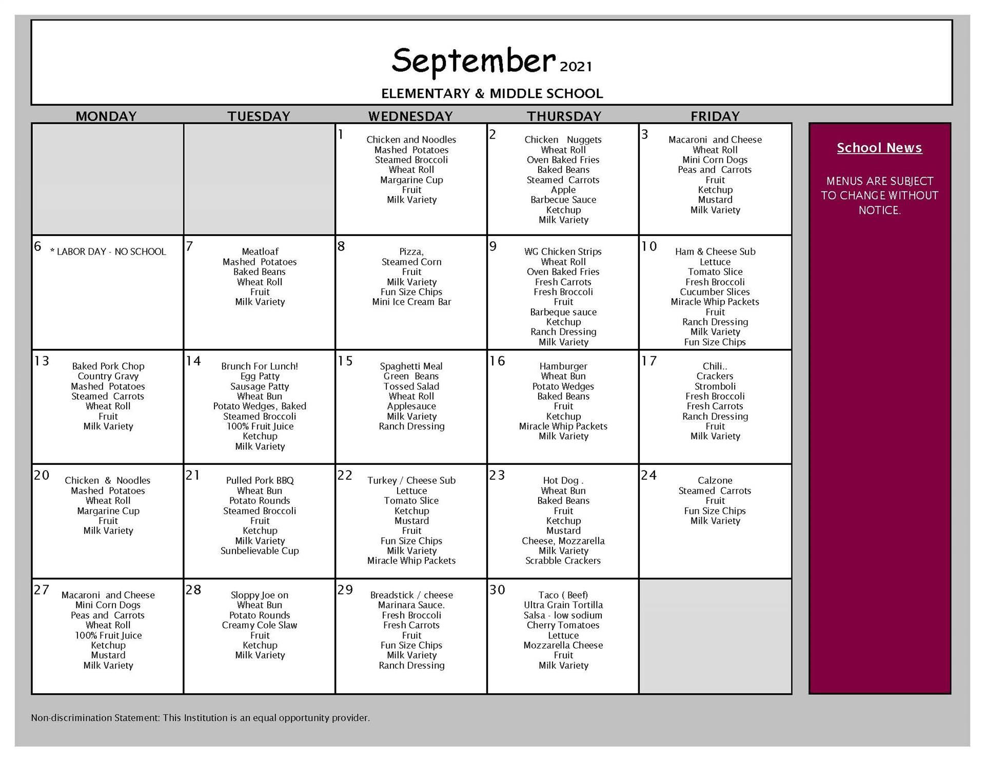 September Lunch Menu PreK-8